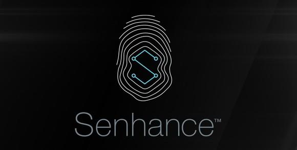 Senhance name and logo on black background.