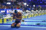 Michael Andrew after winning the men's 200 individual medley during wave 2 of the U.S. Olympic Swim Trials on Friday, June 18, 2021, in Omaha, Neb. (AP Photo/Jeff Roberson)