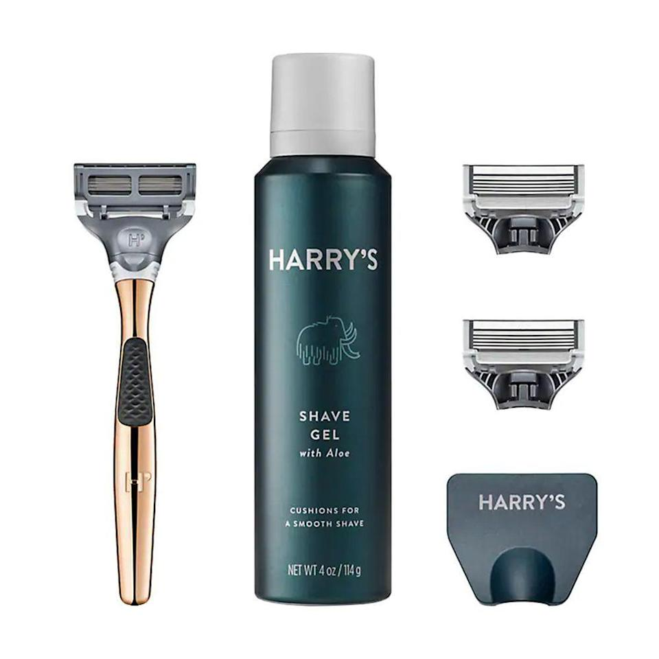 """<p><strong>Harry's</strong></p><p>harrys.com</p><p><strong>$25.00</strong></p><p><a href=""""https://go.redirectingat.com?id=74968X1596630&url=https%3A%2F%2Fwww.harrys.com%2Fen%2Fus%2Fproducts%2Fthe-winston-set&sref=https%3A%2F%2Fwww.bestproducts.com%2Flifestyle%2Fnews%2Fg2100%2Fperfect-gift-ideas-under-100%2F"""" rel=""""nofollow noopener"""" target=""""_blank"""" data-ylk=""""slk:Shop Now"""" class=""""link rapid-noclick-resp"""">Shop Now</a></p><p>Give the gift of a <a href=""""http://www.bestproducts.com/beauty/g884/womens-razors-shavers-trimmers/"""" rel=""""nofollow noopener"""" target=""""_blank"""" data-ylk=""""slk:perfect shave"""" class=""""link rapid-noclick-resp"""">perfect shave</a> with Harry's Winston Set. It comes with a die-cast zinc handle with a polished chrome finish, a pack of three blade cartridges, Harry's foaming shave gel, and a travel cover for the razor. </p>"""