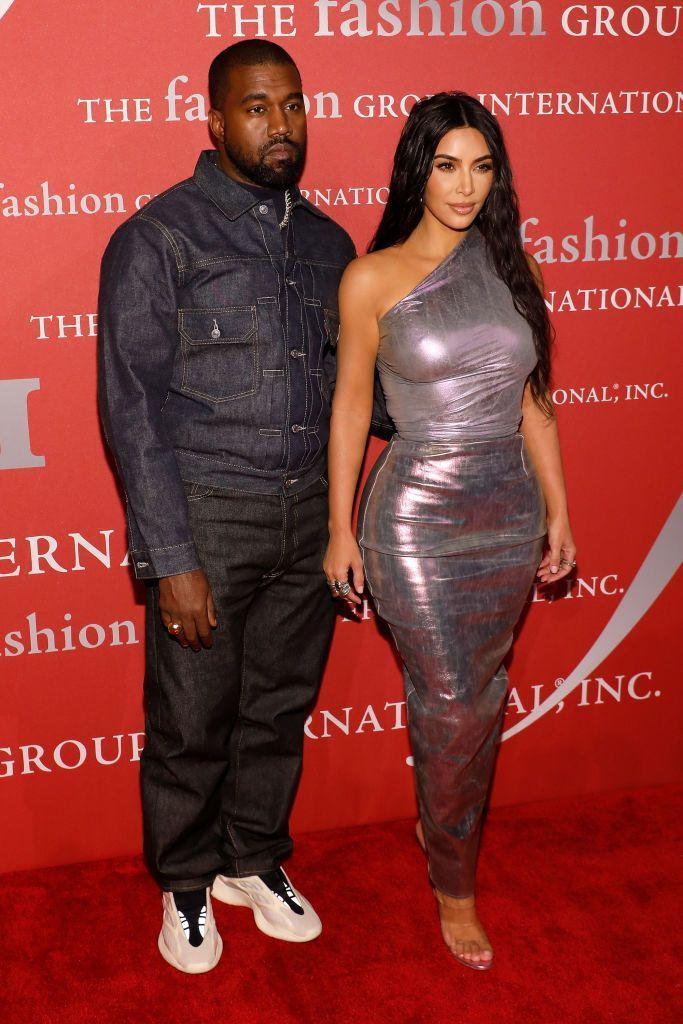 <p>Kimye walked the red carpet at Fashion Group International's 2019 Night of Stars at hotspot Cipriani, Wall Street. Kim wore a mermaid style custom Rick Owens metallic one-shoulder dress while Kanye wore double denim.</p>