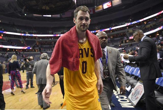 "<a class=""link rapid-noclick-resp"" href=""/nba/players/4391/"" data-ylk=""slk:Kevin Love"">Kevin Love</a> has never looked so comfortable in Cleveland. (AP)"