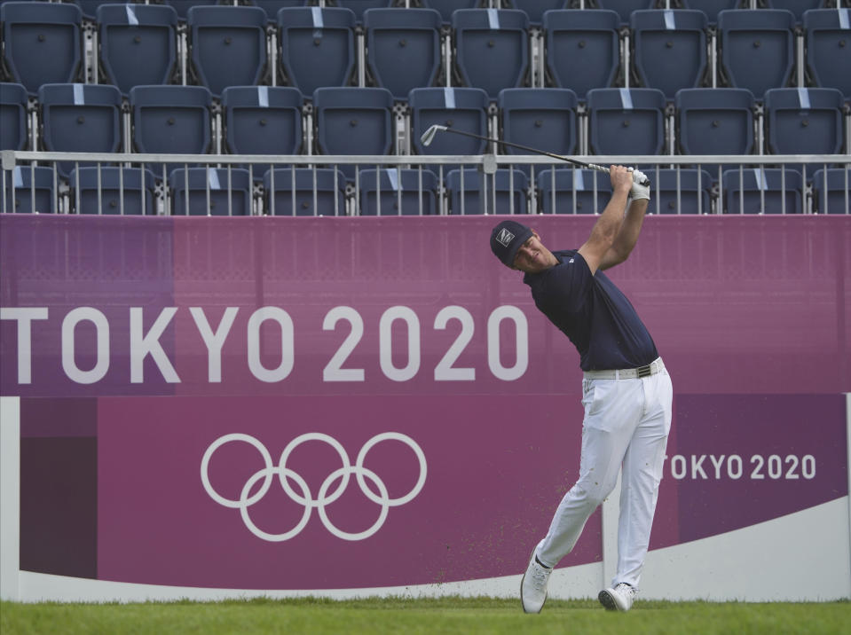 Mito Pereira of Chile watches his tee shot on the first hole during the second round of the men's golf event at the 2020 Summer Olympics on Friday, July 30, 2021, at the Kasumigaseki Country Club in Kawagoe, Japan. (AP Photo/Andy Wong)
