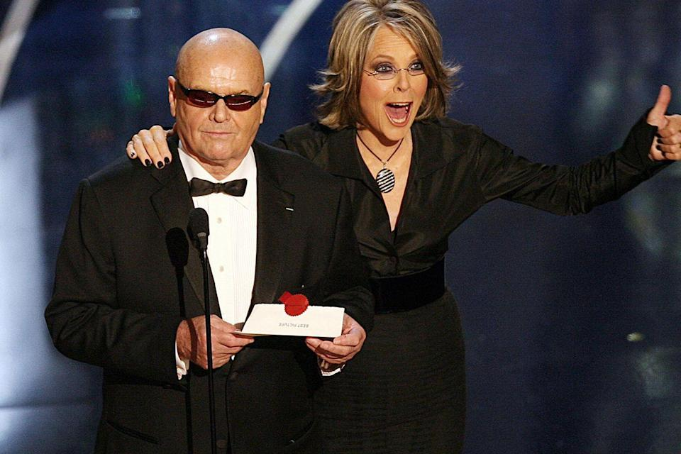 "<p>Jack Nicholson and Diane Keaton presented the Best Picture Oscar to Graham King for producing <em><a href=""https://www.amazon.com/Departed-Leonardo-DiCaprio/dp/B000NGTJTY/ref=sr_1_1?s=instant-video&ie=UTF8&qid=1547580455&sr=1-1&keywords=The+Departed&tag=syn-yahoo-20&ascsubtag=%5Bartid%7C10055.g.5132%5Bsrc%7Cyahoo-us"" rel=""nofollow noopener"" target=""_blank"" data-ylk=""slk:The Departed"" class=""link rapid-noclick-resp"">The Departed</a>,</em> which Nicholson also starred in.</p>"