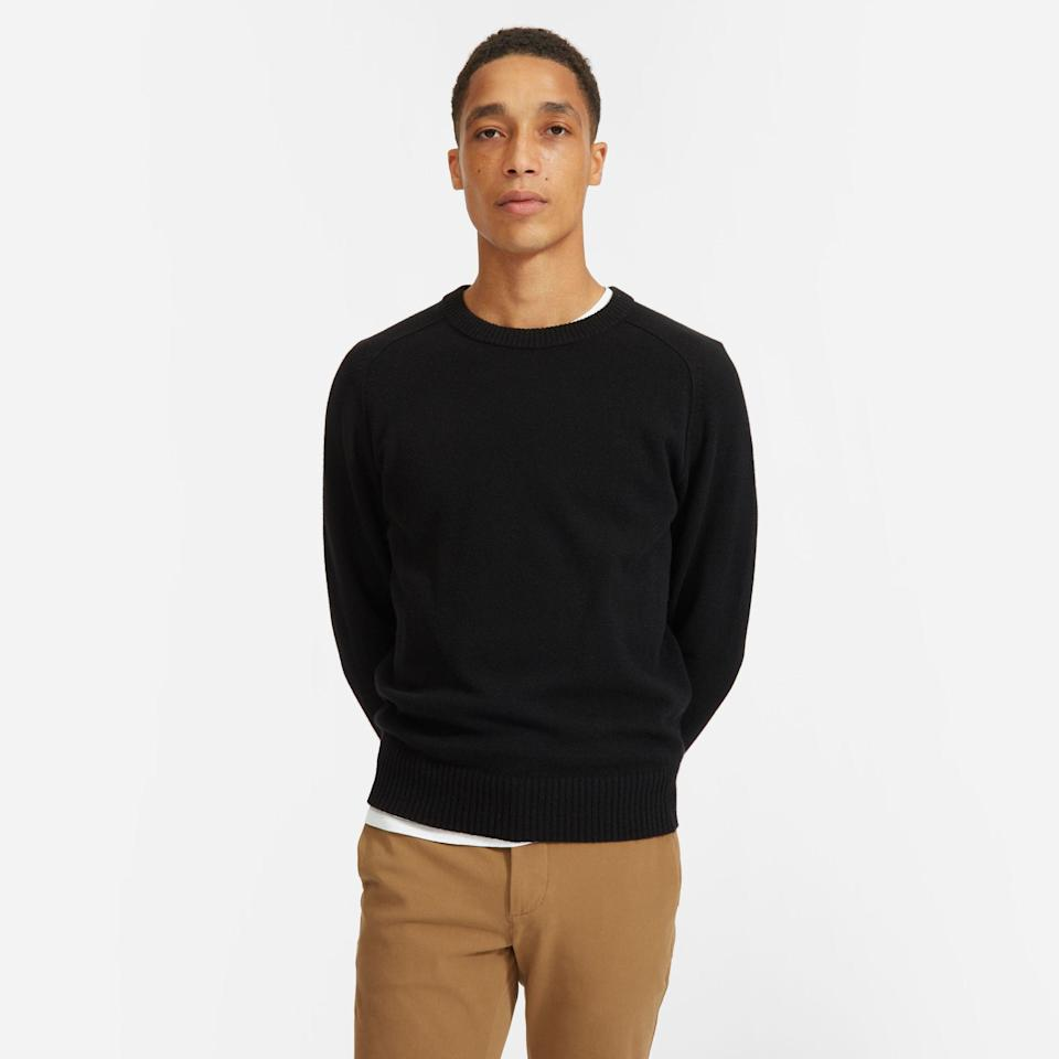 """<p><strong>Everlane</strong></p><p>everlane.com</p><p><strong>$98.00</strong></p><p><a href=""""https://go.redirectingat.com?id=74968X1596630&url=https%3A%2F%2Fwww.everlane.com%2Fproducts%2Fmens-recashmere-crew-sweater-black&sref=https%3A%2F%2Fwww.goodhousekeeping.com%2Fholidays%2Fgift-ideas%2Fg399%2Fgifts-for-men%2F"""" rel=""""nofollow noopener"""" target=""""_blank"""" data-ylk=""""slk:Shop Now"""" class=""""link rapid-noclick-resp"""">Shop Now</a></p><p>Because everyone needs a sweater to wear to Grandma's house. This cashmere option from Everlane is going to be his staple look all winter long.</p>"""