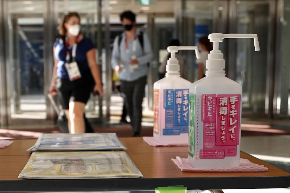 Hand sanitizers are pictured at the Main Press Center of the 2020 Summer Olympics.
