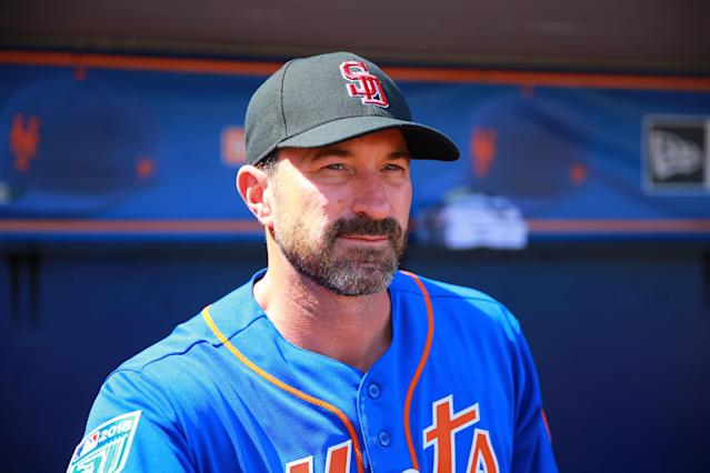 <p>New York Mets manager Mickey Callaway wears a hat of Marjory Stoneman Douglas High School in Parkland before the baseball game against the Atlanta Braves at First Data Field in Port St. Lucie, Fl., Feb. 23, 2018. (Photo: Gordon Donovan/Yahoo News) </p>