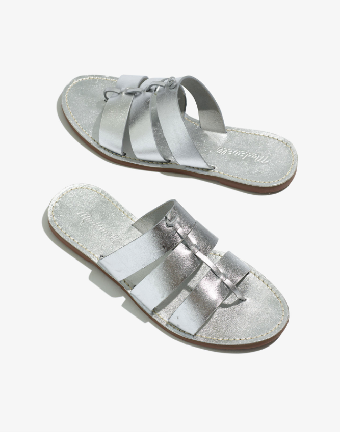 """<br> <br> <strong>Madewell</strong> The Boardwalk Knot Slide Sandal in Metallic Leather, $, available at <a href=""""https://go.skimresources.com/?id=30283X879131&url=https%3A%2F%2Fwww.madewell.com%2Fthe-boardwalk-knot-slide-sandal-in-metallic-leather-AH699.html"""" rel=""""nofollow noopener"""" target=""""_blank"""" data-ylk=""""slk:Madewell"""" class=""""link rapid-noclick-resp"""">Madewell</a>"""