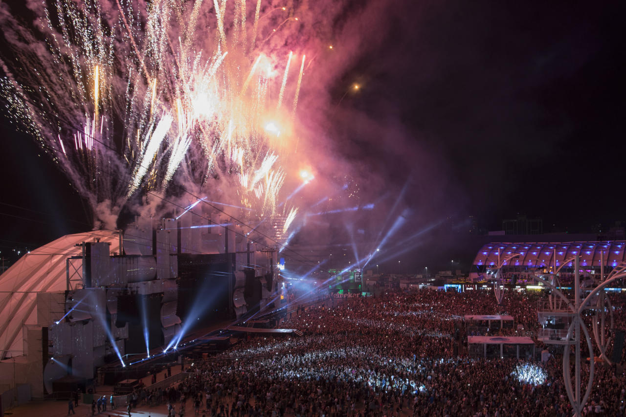 Fireworks explode over the main stage before the start of the performances at the Rock in Rio music festival in Rio de Janeiro, Brazil, Sunday, Sept. 17, 2017. (AP Photo/Leo Correa)