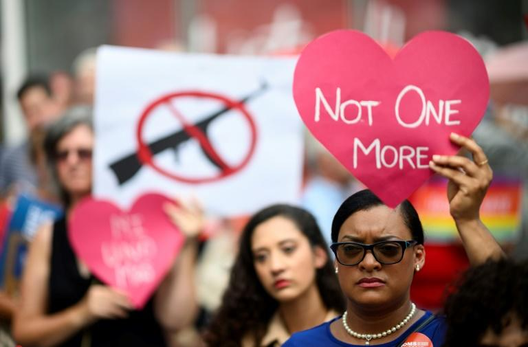 Protestors take part in a rally against gun violence calling for background checks on gun sales in August 2019