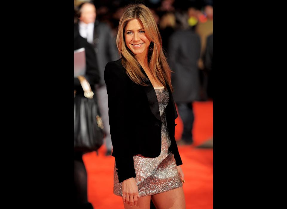 LONDON, ENGLAND - MARCH 11:  Jennifer Aniston attends  the UK film premiere of 'The Bounty Hunter' at Vue West End on March 11, 2010 in London, England.  (Photo by Ian Gavan/Getty Images)