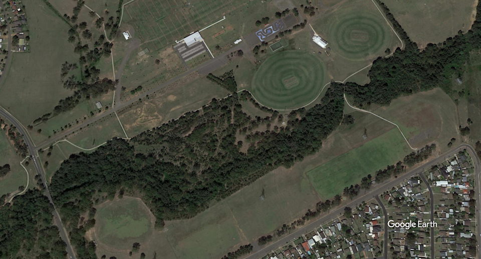 An aerial map of Whalan Park.