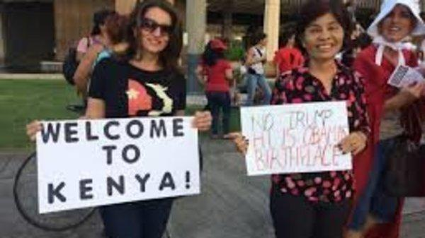 """Trump visited Hawaii and they welcomed him with """"Welcome To Kenya"""" placards."""