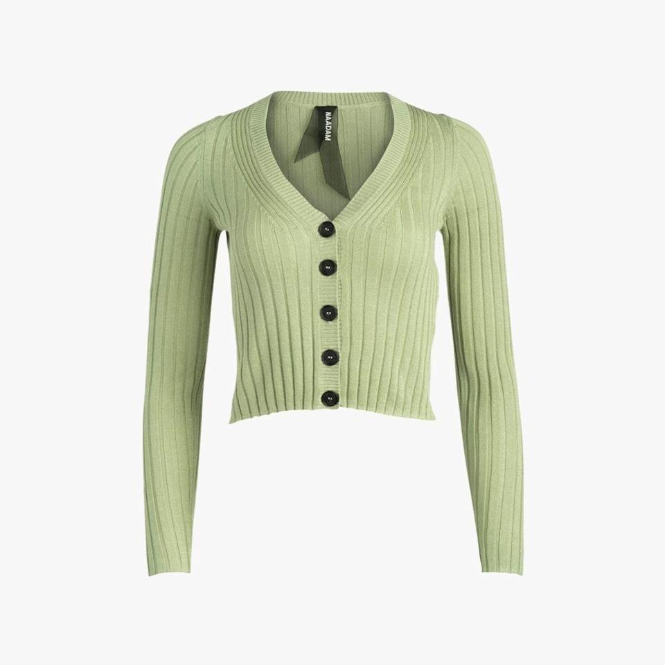 """Wrap up in a ribbed cardigan, which will look equally as good with jeans or sweatpants. $195, OLIVELA. <a href=""""https://www.olivela.com/products/naadam-cropped-cashmere-cardigan-351291"""" rel=""""nofollow noopener"""" target=""""_blank"""" data-ylk=""""slk:Get it now!"""" class=""""link rapid-noclick-resp"""">Get it now!</a>"""
