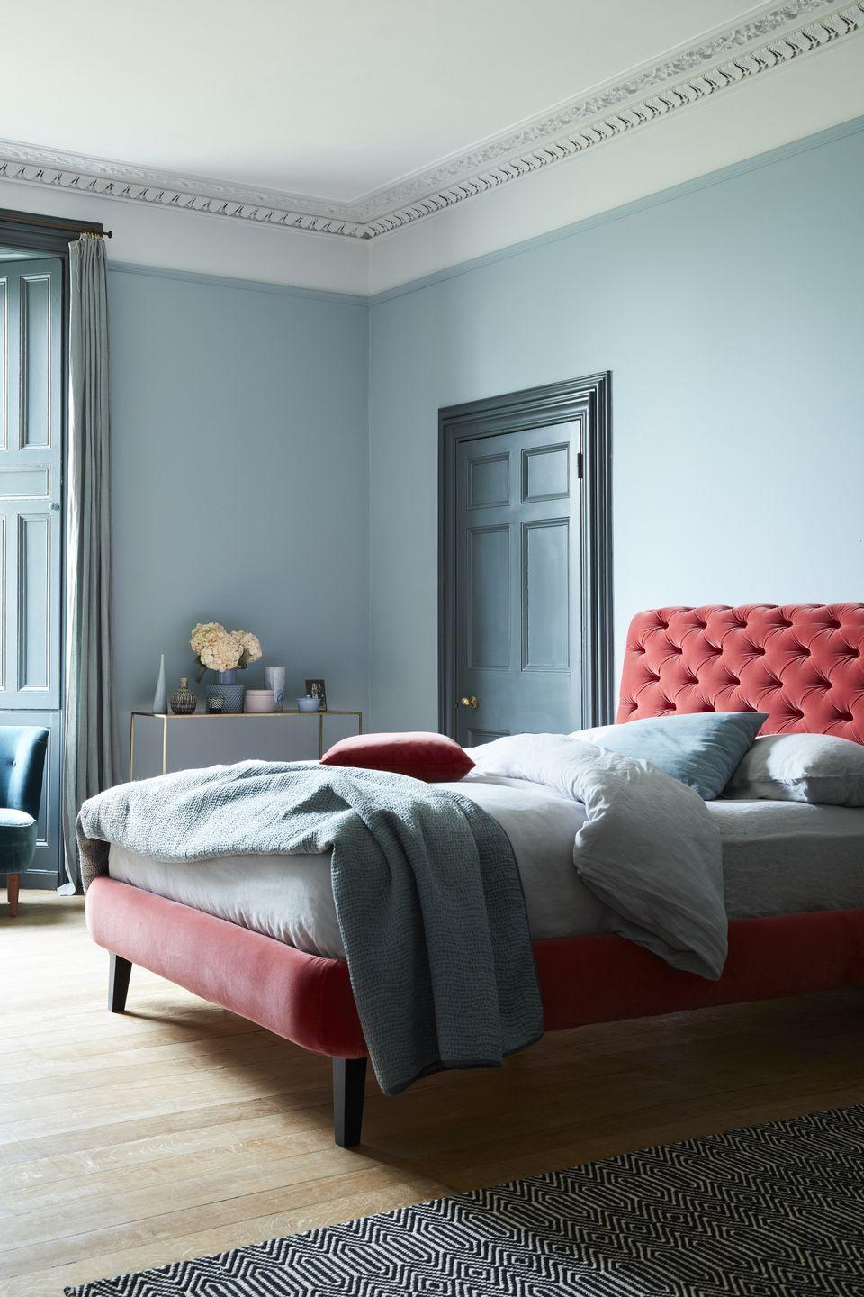 """<p>These are perfectly complementary colours according to the colour wheel. Use a calming blue as your dominant colour – especially in a space like your bedroom or home office – and add a dusty rose as your accent. A third match here would be splashes of buttercup yellow. </p><p>Pictured: <a href=""""https://go.redirectingat.com?id=127X1599956&url=https%3A%2F%2Fwww.sofa.com%2Fgb%2Fbeds%2Fknightsbridge-without-footboard-bed%2Fp%2FBLKNN220CMVDUS&sref=https%3A%2F%2Fwww.countryliving.com%2Fuk%2Fhomes-interiors%2Finteriors%2Fg37384959%2Fcolour-combinations%2F"""" rel=""""nofollow noopener"""" target=""""_blank"""" data-ylk=""""slk:Knightsbridge Double Bed In Dusty Rose Velvet at Sofa.com"""" class=""""link rapid-noclick-resp"""">Knightsbridge Double Bed In Dusty Rose Velvet at Sofa.com</a></p>"""