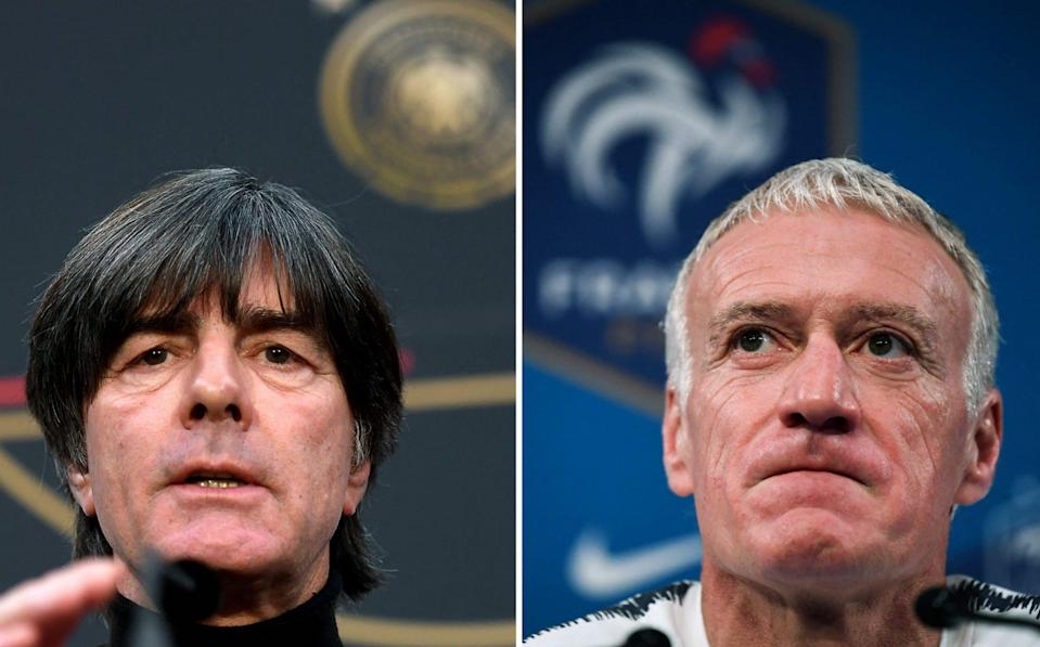 Germany coach Joachim Löw (left) and his France counterpart Didier Deschamps (right) go head to head - AFP