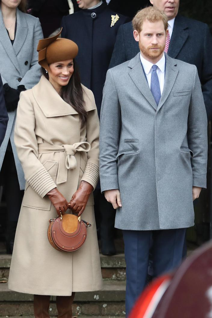 On Christmas Day in 2017, her coat closely resembled the silhouette of the engagement coat. (Getty Images)