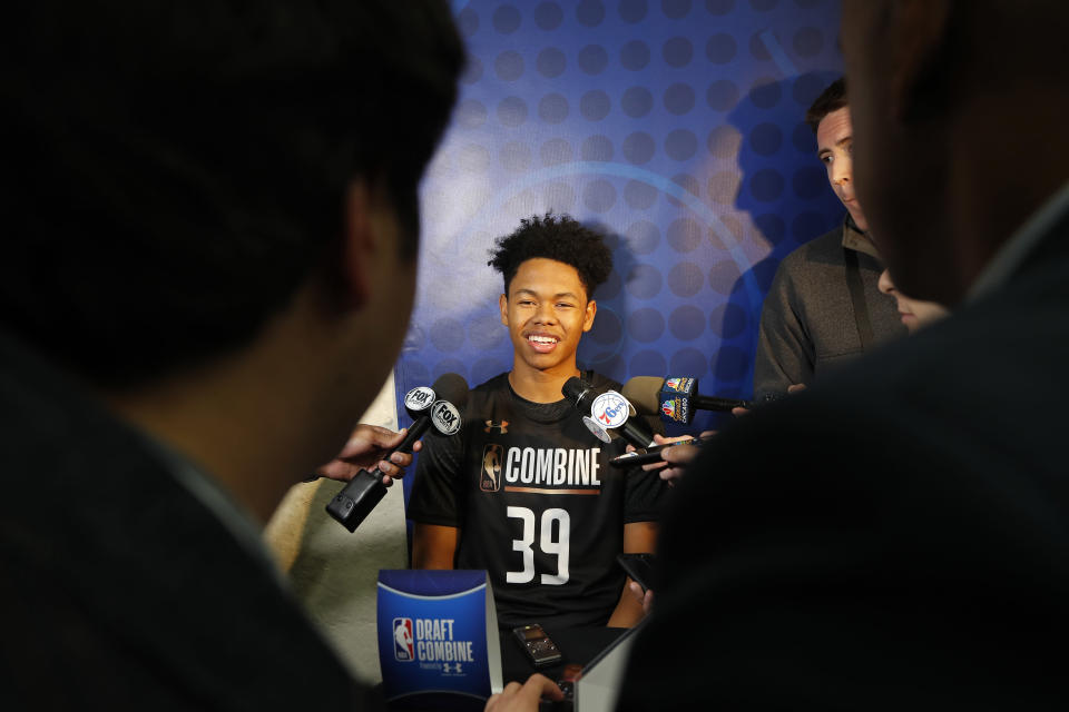 Anfernee Simons talks to the media during the NBA draft combine in Chicago. (Getty Images)