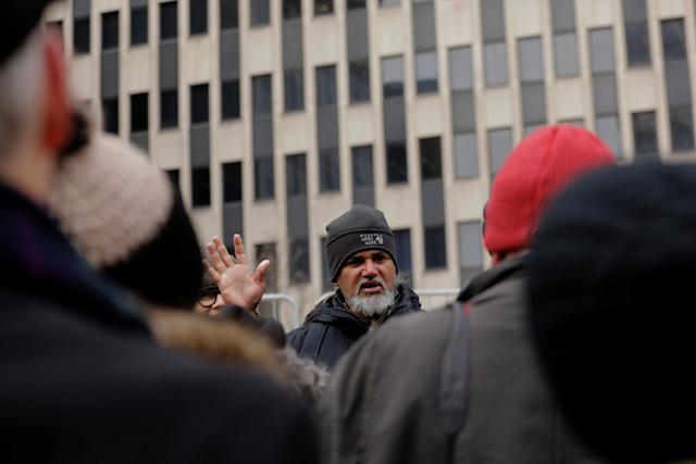 Immigration activist Ravi Ragbir leads a protest outside of a federal building in New York, U.S., Feb. 1, 2018.