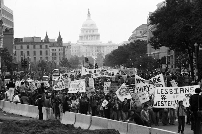 Image: Crowd W/Signs At White House;Lesbian/Gay (Bettmann Archive/Getty Images file)