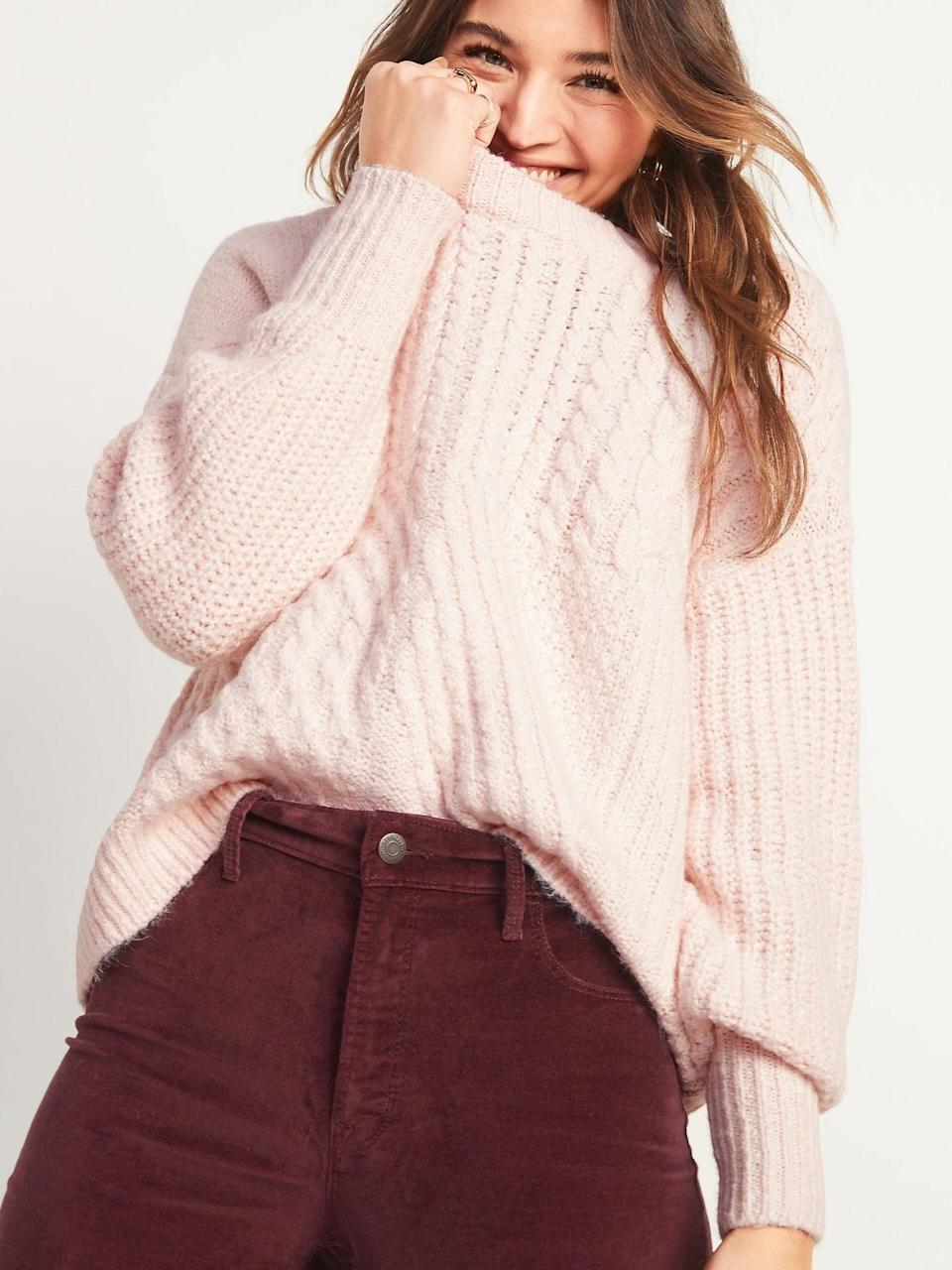 <p>Customers say this <span>Cozy Cable-Knit Blouson-Sleeve Sweater</span> ($23, originally $45) is so soft and cozy.</p>