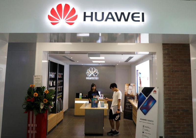 A Huawei shop is pictured in Singapore