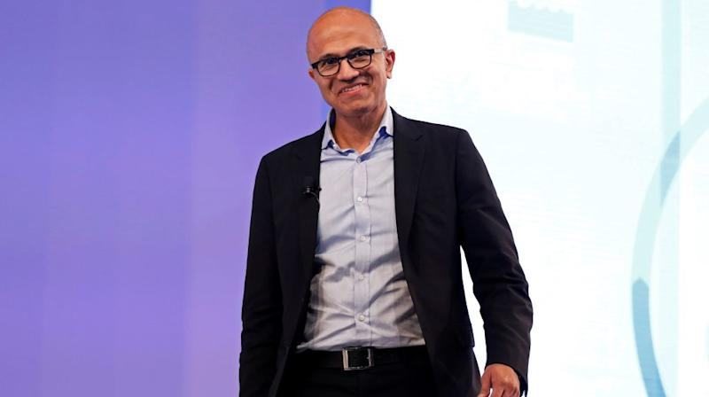 Microsoft Chief Executive Officer Satya Nadella smiles