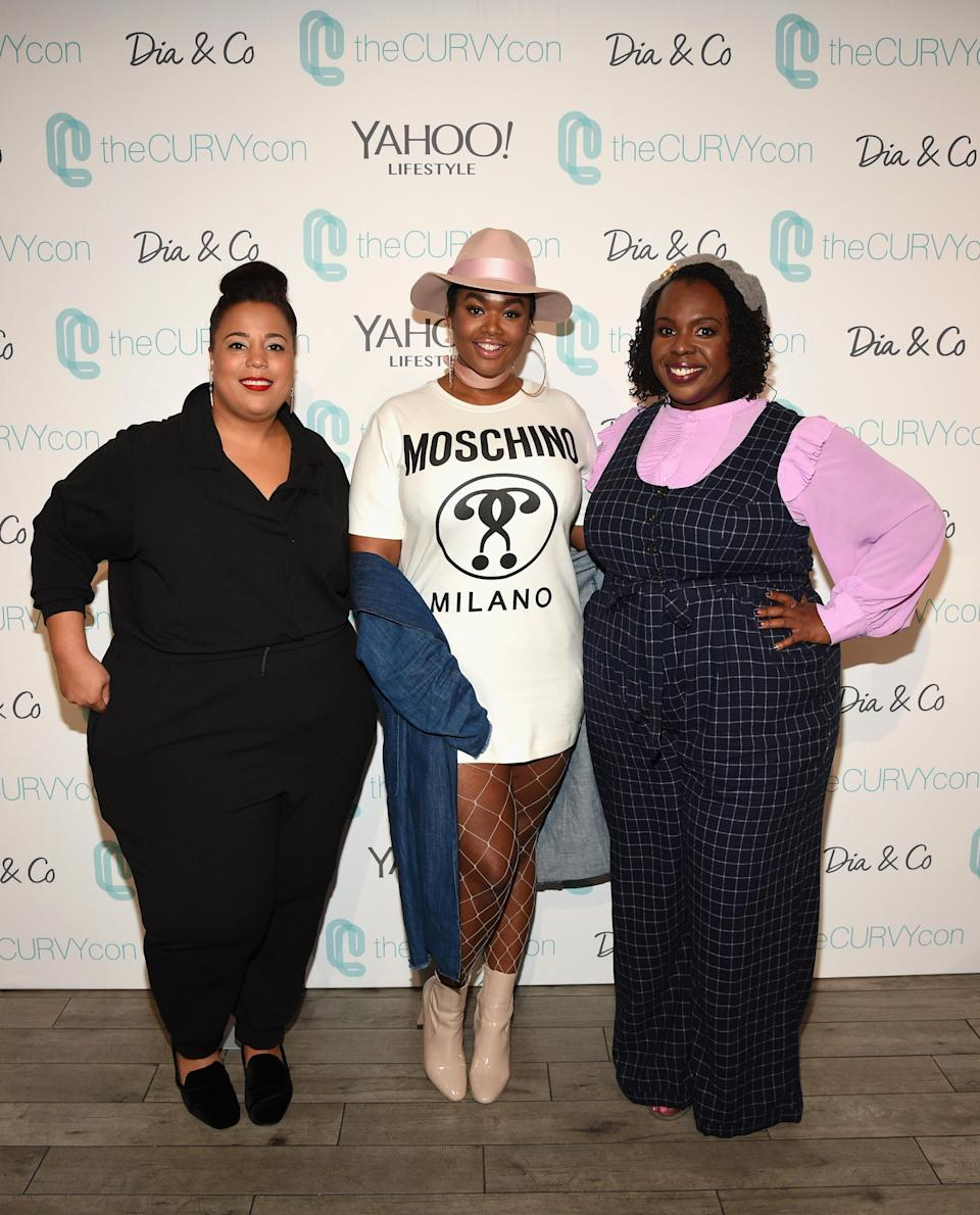 TheCurvyCon founders Ch<span>α</span>stity Garner Valentine, left, and CeCe Olisa, right, with model Precious Lee at the third annual event in 2017. (Photo: Bryan Bedder/Getty Images for Curvy Events, LLC)