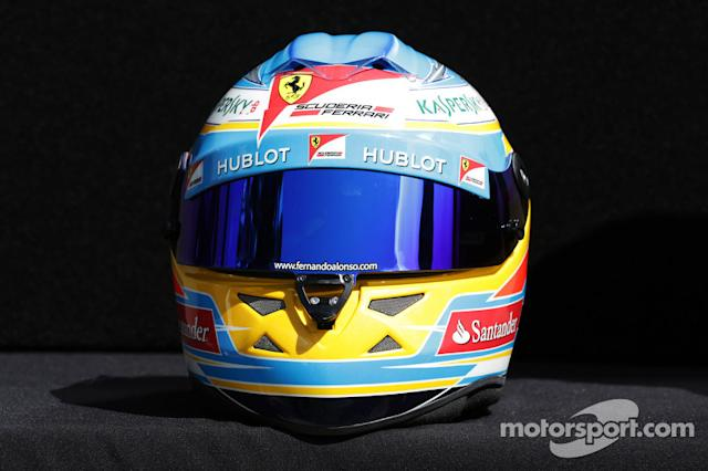 "Casco de Fernando Alonso en 2013 <span class=""copyright"">XPB Images</span>"