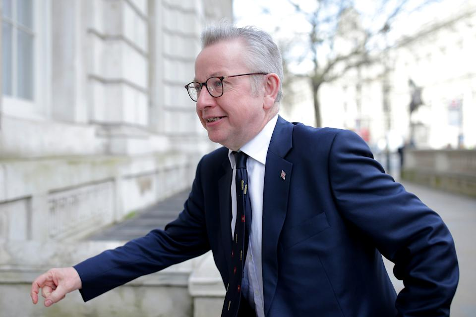LONDON, ENGLAND - MARCH 11:  Chancellor of the Duchy of Lancaster Michael Gove arrives at the Cabinet Office ahead of a government COVID-19 Coronavirus Cobra meeting on March 11, 2020 in London, England. Earlier today, the government pledged billions in its budget to help the NHS tackle the COVID-19 coronavirus and the Bank of England announced an emergency interest-rate cut to boost economic activity amid the economic pressure of the outbreak.  (Photo by Luke Dray/Getty Images)