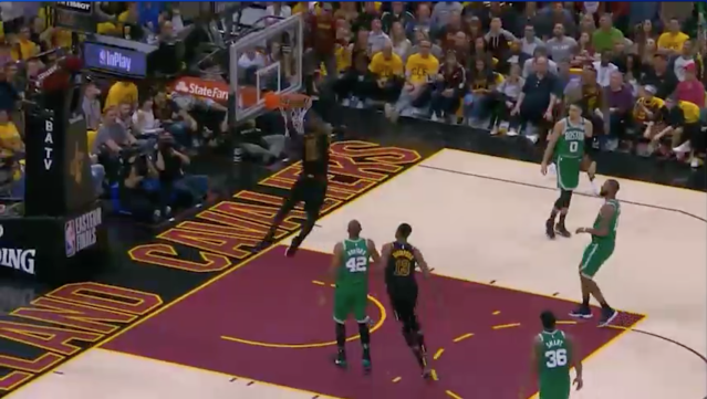 James slams it home in style against Boston. Source: NBA