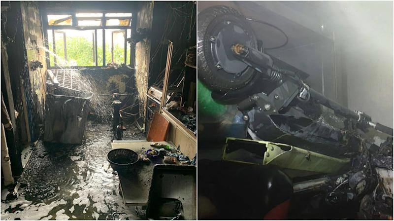 Two PMD-related fires broke out separately at a 7th-floor unit at Block 106 Bedok North Avenue 4 (left) and an e-scooter shop at No 33 Lorong 19 Geylang on 28 October, 2019. (PHOTOS: SCDF/Facebook)