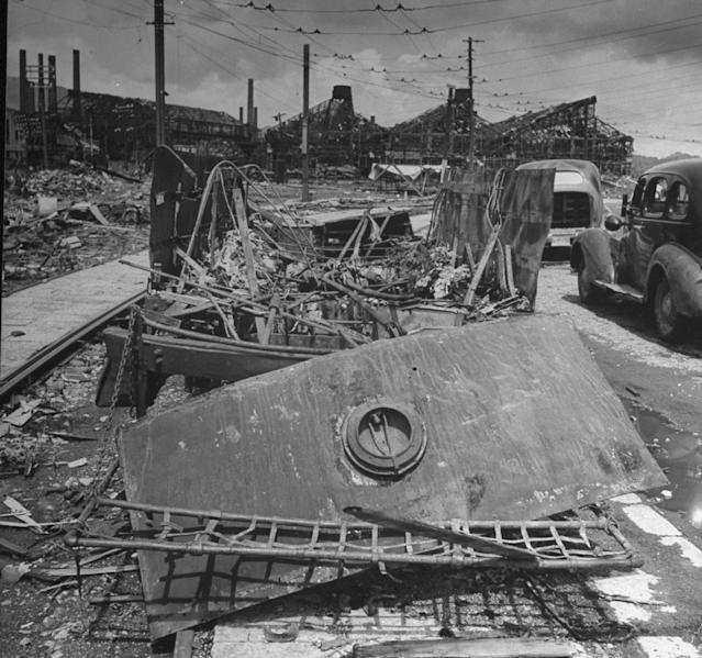 <p>Remains of trolley car in foreground, 2 1/2 miles from where the U.S.dropped an atomic bomb in Nagasaki, 1945 (Photo: Bernard Hoffman/The LIFE Picture Collection/Getty Images) </p>