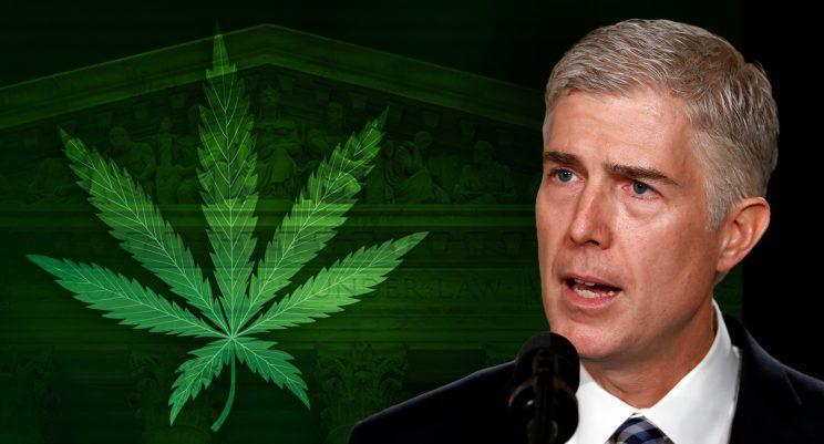 The cannabis industry remains cautiously optimistic that Neil Gorsuch, if he is confirmed as a Supreme Court justice, will allow states to continue their march toward marijuana legalization. (Yahoo News photo illustration; photos: AP)