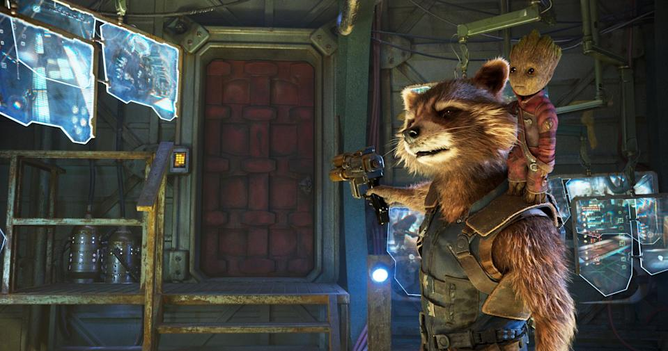 """Rocket, voiced by Bradley Cooper, and Groot, voiced by Vin Diesel in <i>Guardians Of The Galaxy Vol. 2</i>.<span class=""""copyright"""">©Marvel Studios</span>"""