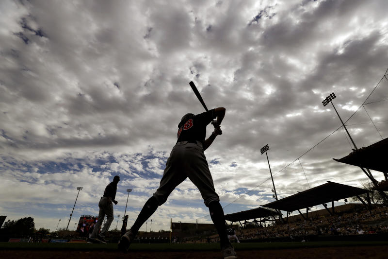 Cleveland Indians' Ernie Clement waits to bat during the ninth inning of a spring training baseball game against the Chicago White Sox, Friday, Feb. 28, 2020, in Glendale, Ariz. (AP Photo/Gregory Bull)