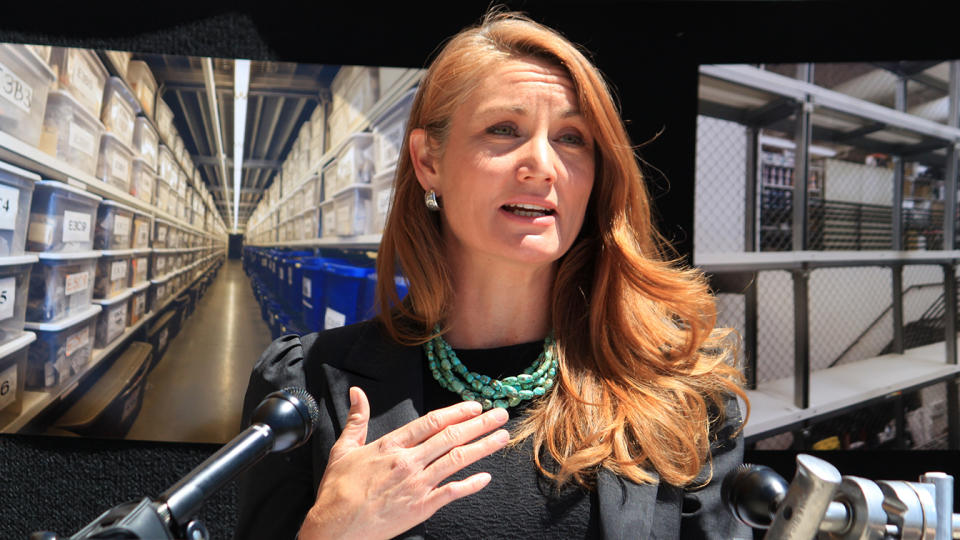 Rep. Melanie Stansbury at a news conference about erasing a backlog in untested rape evidence kits in Albuquerque, New Mexico in April.  (Susan Montoya Bryan/AP)