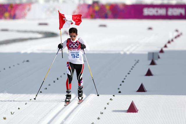 SOCHI, RUSSIA - FEBRUARY 14: Roberto Carcelen of Peru competes in the Men's 15 km Classic during day seven of the Sochi 2014 Winter Olympics at Laura Cross-country Ski & Biathlon Center on February 14, 2014 in Sochi, Russia. (Photo by Paul Gilham/Getty Images)