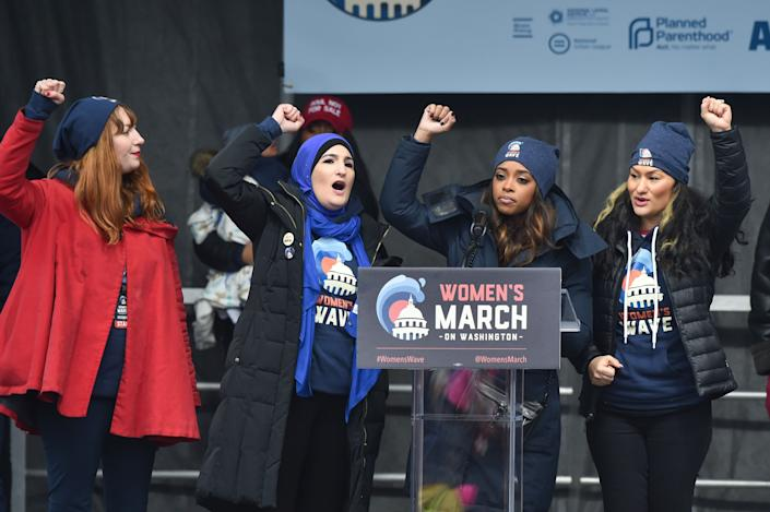 WASHINGTON, DC - JANUARY 19: March Organizers Bob Bland, Tamika D. Mallory, Linda Sarsour, and Carmen Perez-Jordan speak on stage during the Women's March on January 19, 2019 in Washington, DC. Thousands of women gathered in the US capital and across the country to support women's rights and to oppose President Donald Trump's policies. (Photo by Aaron J. Thornton/Getty Images)