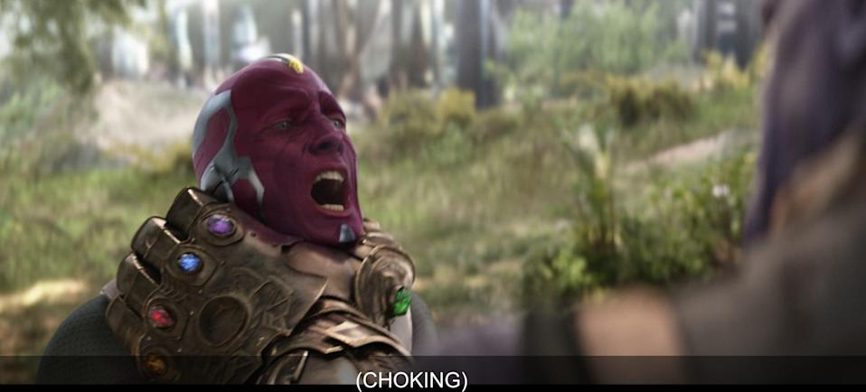 vision infinity war choking