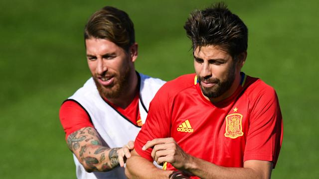 Real Madrid captain Sergio Ramos and Barcelona defender Gerard Pique were involved in another public clash on Tuesday.