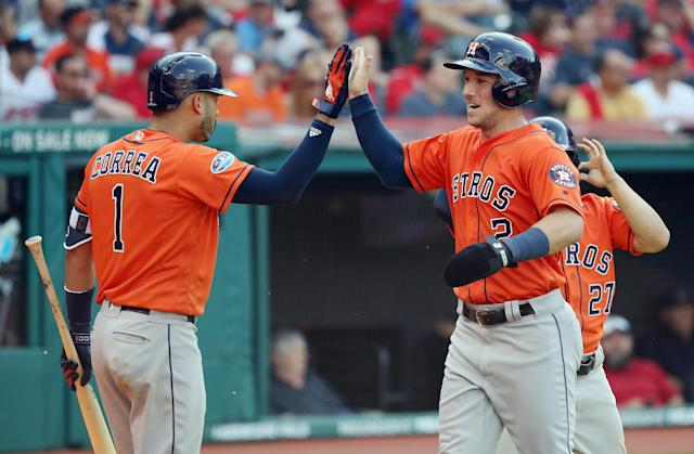 "The <a class=""link rapid-noclick-resp"" href=""/mlb/teams/hou"" data-ylk=""slk:Houston Astros"">Houston Astros</a> defeated the <a class=""link rapid-noclick-resp"" href=""/mlb/teams/cle"" data-ylk=""slk:Cleveland Indians"">Cleveland Indians</a> to advance to the American League Championship Series once again. (Getty Images)"