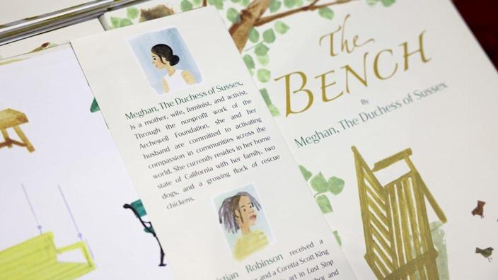 """<div class=""""inline-image__caption""""><p>""""A copy of """"The Bench"""", a children's book written by Meghan, Britain's Duchess of Sussex, is displayed at a Waterstones store in London, Britain, June 8, 2021.</p></div> <div class=""""inline-image__credit"""">Henry Nicholls/Reuters</div>"""