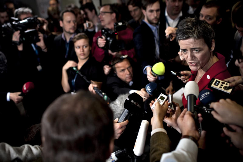 Danish Minister of Economics Margrethe Vestager talks to the press during the informal EU-meeting for EU finance ministers, the ECOFIN Meeting, in Copenhagen, Denmark Friday, March 30, 2012. (AP Photo/Joachim Adrian/Polfoto) DENMARK OUT