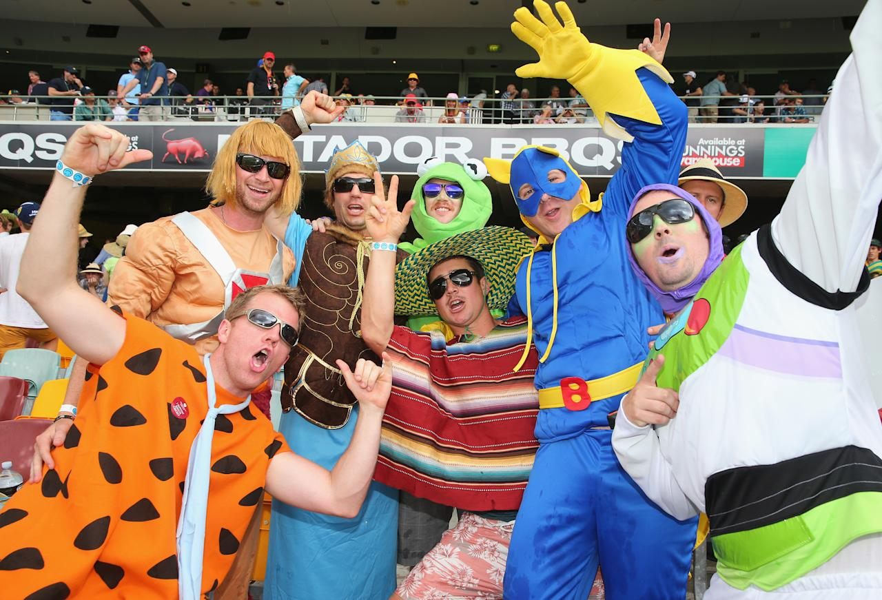 BRISBANE, AUSTRALIA - NOVEMBER 23:  Spectators in fancy dress pose during day three of the First Ashes Test match between Australia and England at The Gabba on November 23, 2013 in Brisbane, Australia.  (Photo by Scott Barbour/Getty Images)