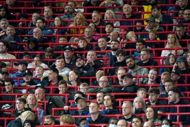 Manchester United fans in the new rail seating section at Old Trafford for the pre-season friendly against Brentford