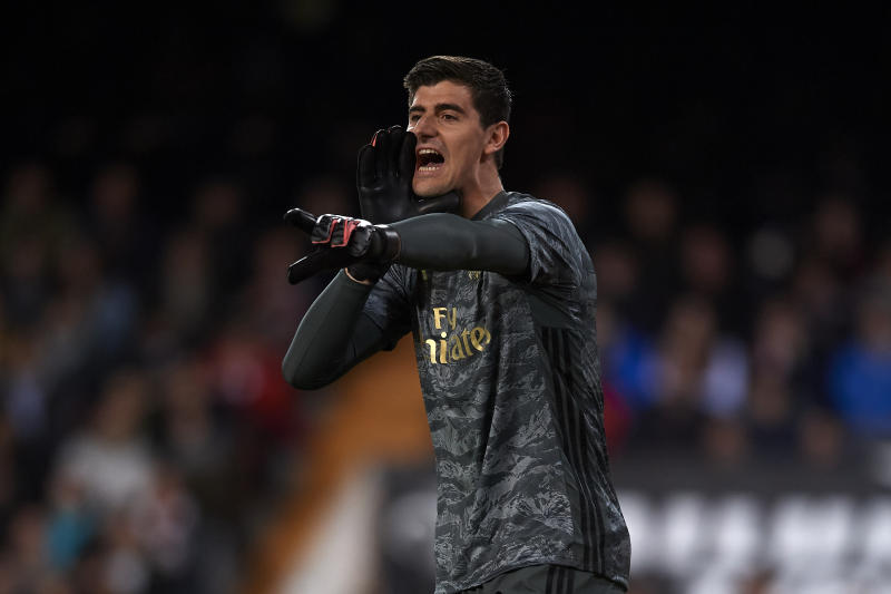 Thibaut Courtois of Real Madrid gives instructions during the Liga match between Valencia CF and Real Madrid CF at Estadio Mestalla on December 15, 2019 in Valencia, Spain. (Photo by Jose Breton/Pics Action/NurPhoto via Getty Images)