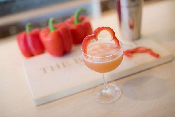 PHOTO: The Red Lady cocktail uses red bell pepper and orange bitters for a sweet and herbaceous kick. (The Botanist Gin)