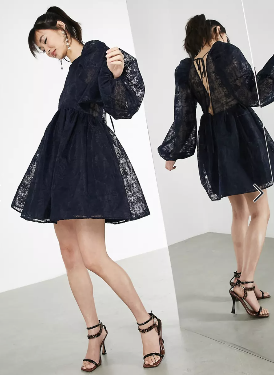 ASOS EDITION Embroidered Mini Smock Dress in Navy (Photo vis ASOS)