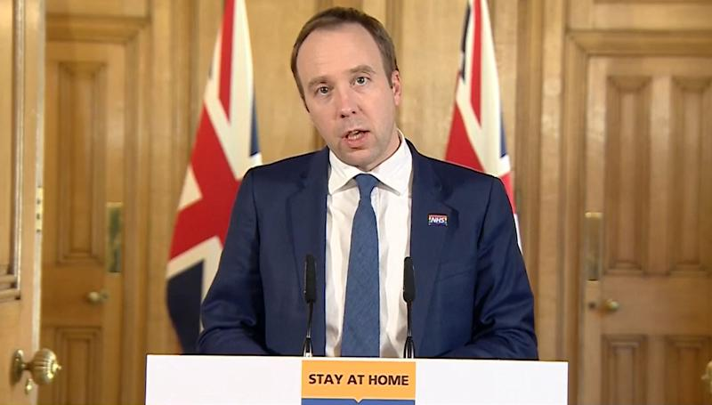 Screen grab of Health Secretary Matt Hancock speaking during a media briefing in Downing Street, London, on coronavirus (COVID-19). (Photo by PA Video/PA Images via Getty Images)