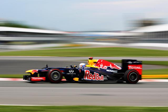 MONTREAL, CANADA - JUNE 08: Sebastian Vettel of Germany and Red Bull Racing drives during practice for the Canadian Formula One Grand Prix at the Circuit Gilles Villeneuve on June 8, 2012 in Montreal, Canada. (Photo by Mark Thompson/Getty Images)